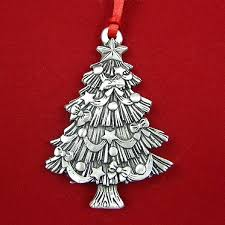 2015 Woodbury Sculptured Christmas Tree Pewter Ornament Silver