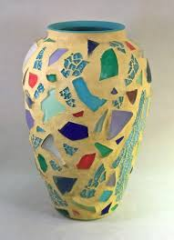 Mosiac Vase Recycled Art Mosaic Vase Recycled Glass Festive Yellow By