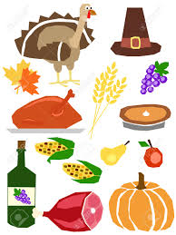a set of thanksgiving day symbols in simple manner royalty