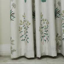 Linen Curtains With Grommets Iyuegou Country Botanical Grass Print Cotton Linen Eco Friendly
