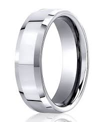 mens white gold wedding rings 10k white gold wedding band 6 mm designer beveled edge polished
