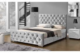 buckingham fabric upholstered bed double or king size bed frames