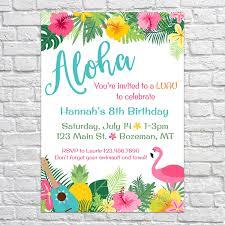 Invite Birthday Card Luau Birthday Invites Aloha Pineapple Invitations Summer