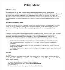 sample policy memo 9 documents in word pdf