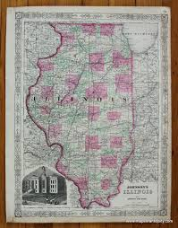 Vintage Chicago Map by Johnson U0027s Illinois Antique Maps And Charts U2013 Original Vintage