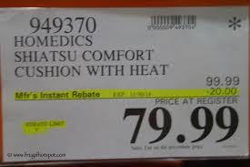 Homedics Chair Back Massager Costco Sale Homedics Shiatsu Massage Cushion With Heat Frugal