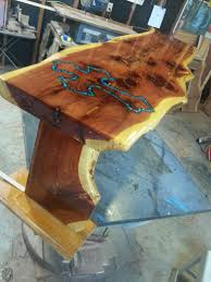 live edge table with turquoise inlay live edge cedar prayer bench w turquoise inlay