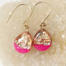 gold teardrop earrings tiny galaxies hot pink and gold small teardrop earrings