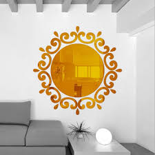 online shop round mirror floral wall stickers removable art decal online shop round mirror floral wall stickers removable art decal mural home bathroom decor silver gold aliexpress mobile