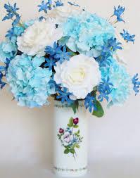 white and blue flowers silk flower arrangement white roses blue green hydrangea