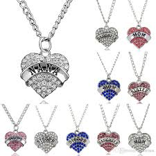 necklace pendants letters images Wholesale heart diamond necklace family letters mother daughter jpg