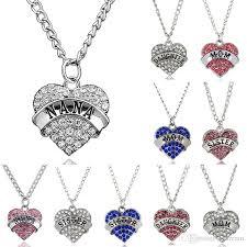 necklace pendants letters images Wholesale heart diamond necklace family letters mother daughter jpg