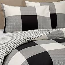 elton reversible duvet cover set in ivory black bed bath u0026 beyond