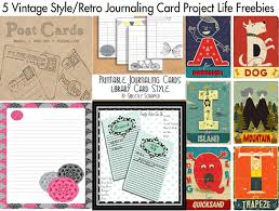 5 vintage style retro journaling card project freebies