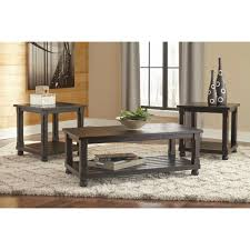 Ashley Furniture Kitchen Table Ashley Furniture Mallacar 3pc Occasional Table Set In Black