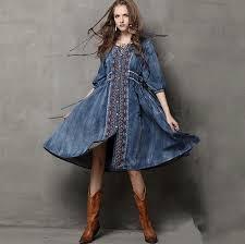aliexpress com buy maxi long vintage embrodiry denim dress 102cm