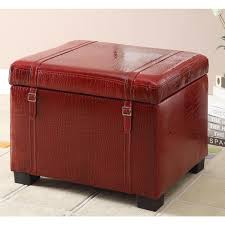 amazing of red storage ottoman with fancy faux leather storage