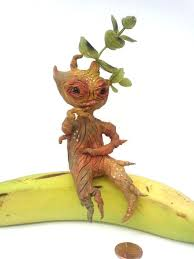 cute plant mandrake root clay creature cute plant monster ornament clay