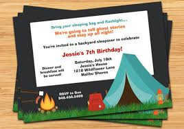Backyard Birthday Party Invitations by Camping Birthday Party Invitation Campfire Tent And Fully