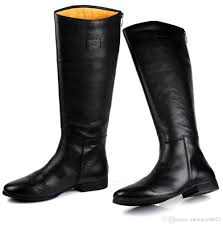 high motorcycle boots large size mens knee high boots fashion black genuine leather