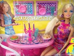 Barbie Dining Room Set Barbie Glam Dining Room Furniture And Doll Youtube