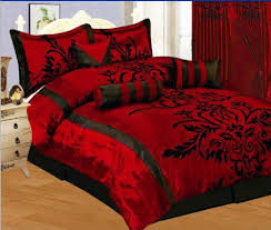 Black Comforter Sets King Size 7 Pc Modern Black Burgundy Red Flock Satin Comforter Set Bed In