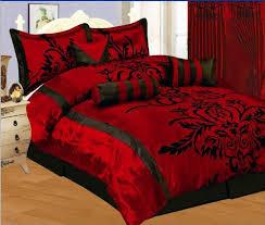 Queen Size Bed Comforter Set 7 Pc Modern Black Burgundy Red Flock Satin Comforter Set Bed In