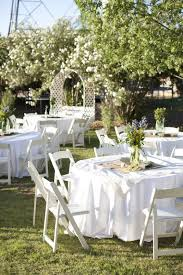 Simple Backyard Wedding Ideas by Outdoor And Patio Green Grass Yard And Simple White Folding