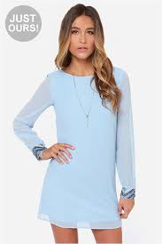 light blue long sleeve dress cute light blue dress beaded dress long sleeve dress 59 00