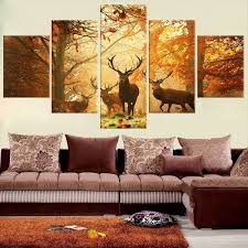 compare prices on wall painting murals tree online shopping buy no frame 5 pcs wall deer painting canvas painting modern tree living room bedroom for animals