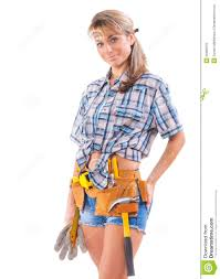 Construction Worker Costume Smiling Young Female Construction Worker Isolated On White Royalty