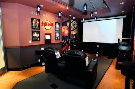 awesome home theater decor with red walls and bar idea