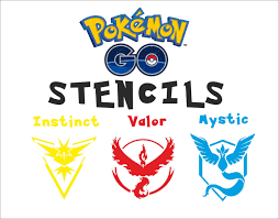 pokemon go plastic stencils teams instinct valor mystic