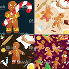 set christmas cookies gingerbread man decorated with icing dancing