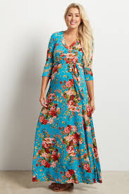 aqua floral draped 3 4 sleeve maternity maxi dress
