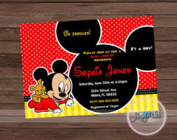 mickey mouse baby shower invitations mickey baby shower etsy