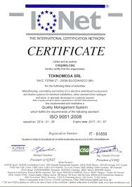 certification of quality teknomega teknomega srl
