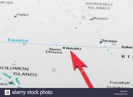 Map Of Pacific Red Arrow Pointing Nauru On The Map Of Pacific Ocean Stock Photo