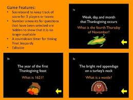 thanksgiving jeopardy by erben teachers pay teachers