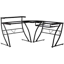 Line Desk Amazon Com Z Line Designs Feliz Glass L Desk Black Kitchen U0026 Dining