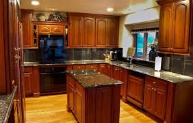 Cherry Wood Kitchen Cabinets With Black Granite Kitchen Colors With Cherry Cabinets Brown Wood Bar Stool