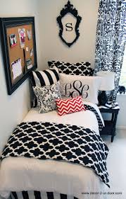 Nice Black Themed For Dorm Room Decor With Small Red Zigzag Motif
