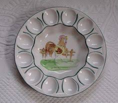 vintage deviled egg plate vintage 1961 sfa rooster deviled egg plate w lid deviled egg
