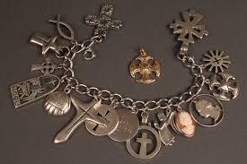 silver bracelet with cross charm images Lot 371 james avery sterling charm bracelet gold cross jpg