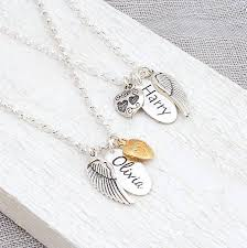 name tag necklace personalised silver name necklace with angel wing and heart charms