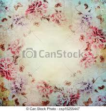 drawing of vintage shabby chic background with roses csp15255447