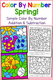 spring color number worksheets simple numbers