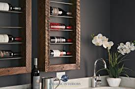 unique home wine bar display and storage with reclaimed wood on