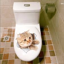 Decoration Cat Wall Decals Home by 0 7 Buy Here 3d Cats Wall Sticker Toilet Stickers Hole View