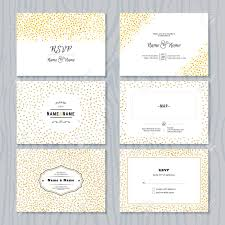 Invitation With Rsvp Card Rsvp Cards Set With Gold Confetti Borders Vector Wedding